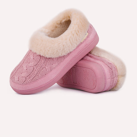 Ladies Knitted Moccasin Slipper