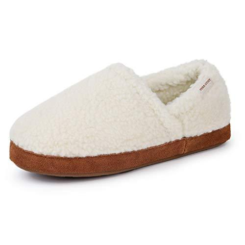 VeraCosy Ladies' Sharon Fuzzy Curly Fur Memory Foam Closed Back Moc Slippers Cosy Warm Fleece House Shoes