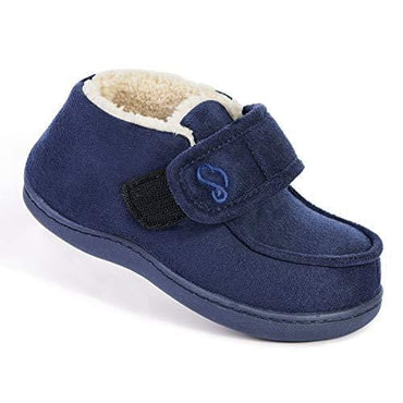 EverFoams Kids' Suede Memory Foam Boot Slippers with Hook & Loop