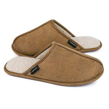 Men's EverFoams Suede Sherpa Lining Memory Foam Slippers