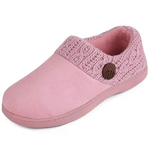 Women's EverFoams Cute Button Suede Memory Foam Lofars Slippers