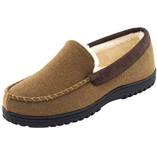 EverFoams Men's Wool-Felt Plush Fleece Lined Memory Foam Moccasin Slippers