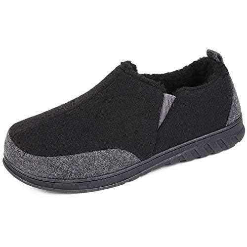 EverFoams Men's Warm Woollen Fabric Slippers with Elastic Gusset