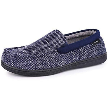 MERRIMAC Men's Cotton Knit Moccasin Slippers Breathable House Shoes with Removable Insole