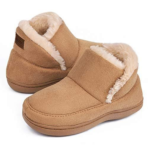 VeraCosy Kids Unisex Micro Suede Sheepskin Memory Foam Slippers Boys Girls Warm Fleece Lined Anti-Skid House Shoes