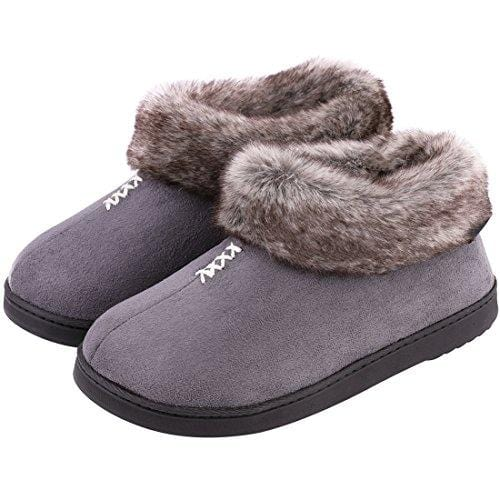EverFoams Ladies' Cozy Memory Foam Slippers Fluffy Micro Suede Faux Fur Fleece Lined House Shoes Non Skid Indoor Outdoor Sole