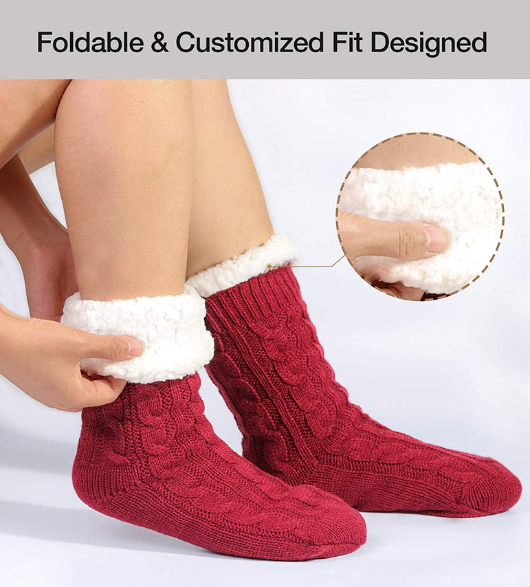 VeraCosy Ladies' Fluffy Hand-made Cable Knitted Slipper Socks with Non-Skid Grips