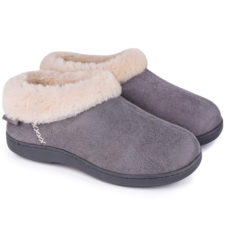 Ladies' EverFoams Suede Fuzzy Plush Lined Loafers Slippers