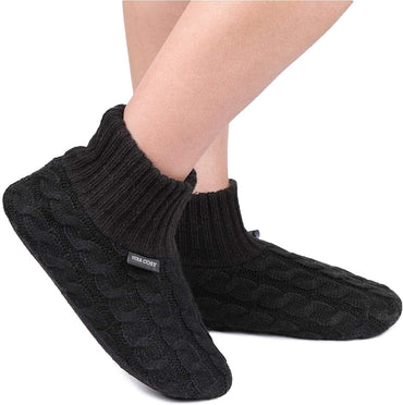 VeraCosy Men's Women's Fluffy Hand-made Cable Knitted Slipper Socks with Non-Skid Grips