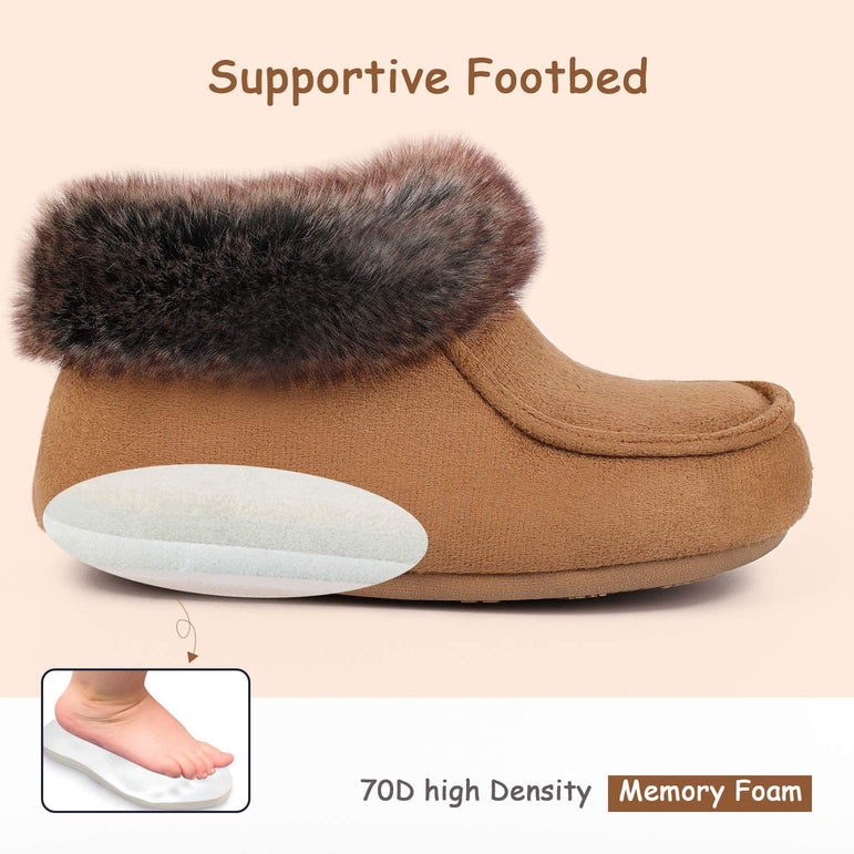 EverFoams Kids' Suede Memory Foam Boot Slippers with Fluffy Fur Collar
