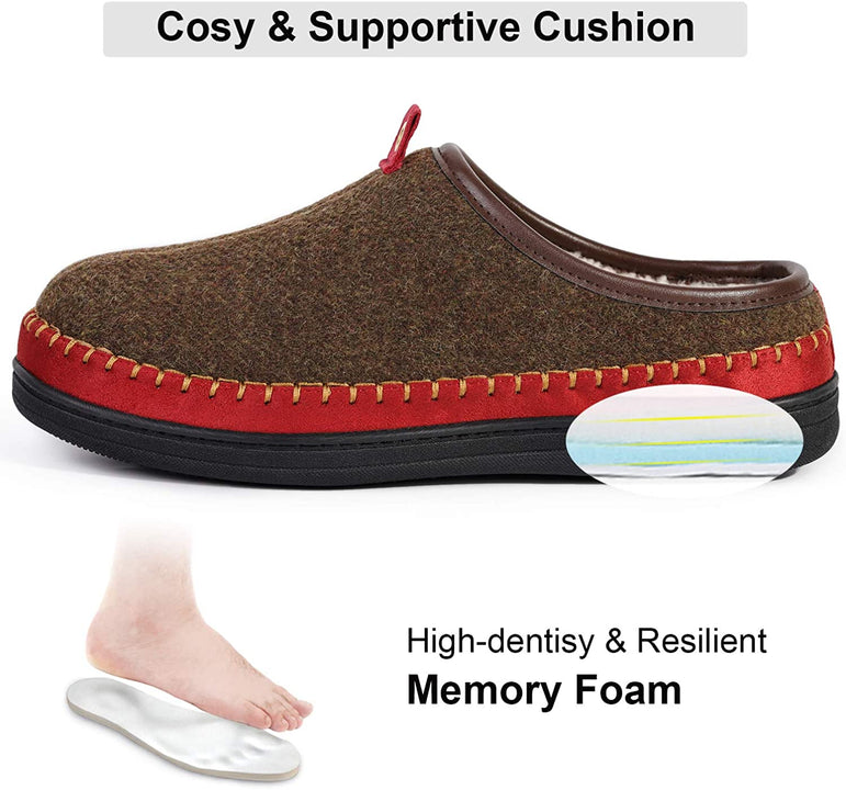 EverFoams Mens' Two-Tone Cosy Woollen Fabric Memory Foam Slippers