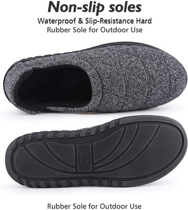 Snug Leaves Men's Quilted Cotton Memory Foam Slippers with Adjustable Elastic Gores