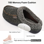 VeraCosy Men's Fuzzy Quilted Woolen Fabric Memory Foam Moc Slippers