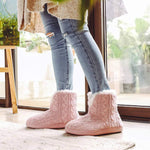 VeraCosy Ladies' Cosy Cable Knit Memory Foam Slipper Boots