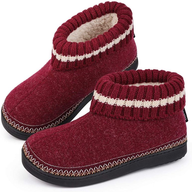 EverFoams Ladies Wool Memory Foam Hi-Top Boot Slippers with Knitted Collar