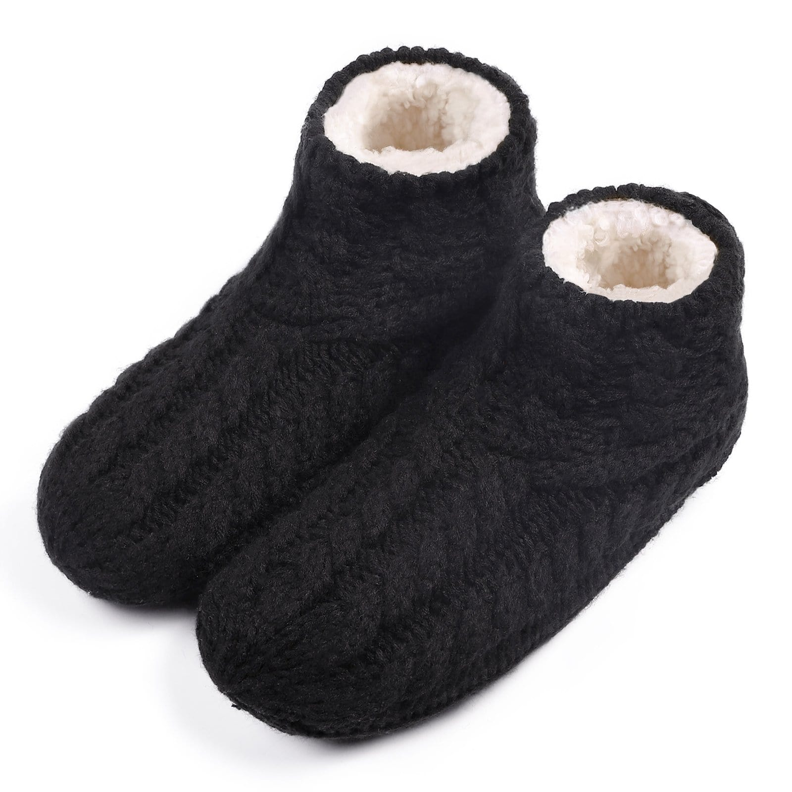 Ladies' Warm Cable Knit Non Slip Winter Slipper Socks with Fluffy Fleece Lining