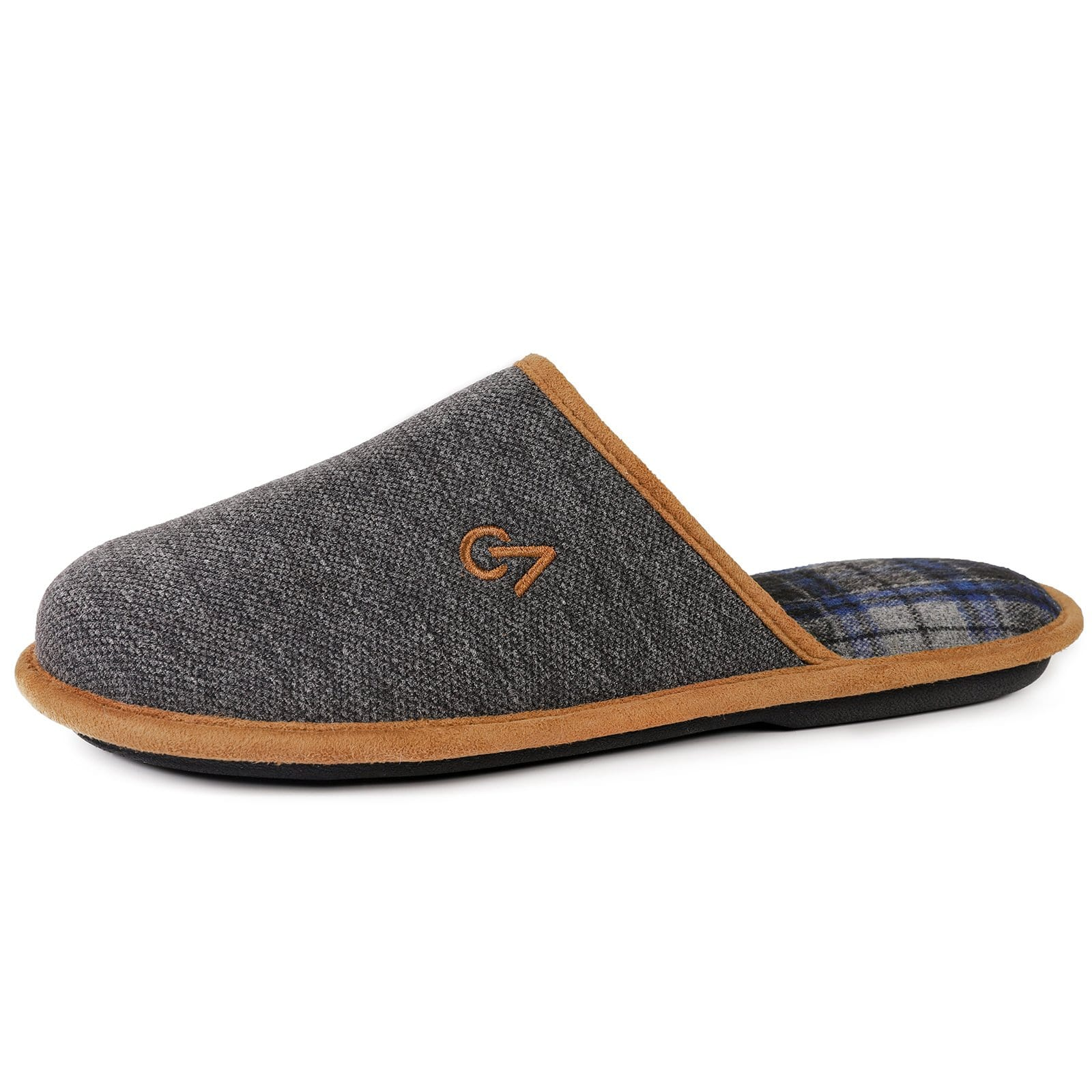 VeraCosy Men's Knitted Scottish Breathable Classic Memory Foam Slippers