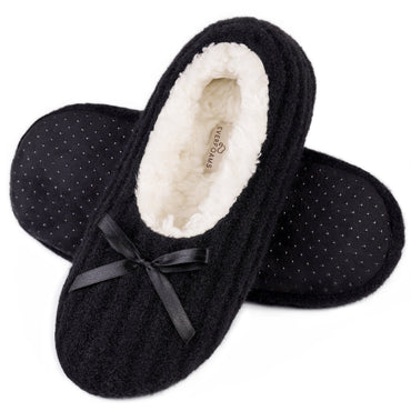 Ladies' Comfy Slipper Socks with Non Slip Grips and Cute Bow Decor