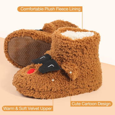 VeraCosy Boys Girls Cute Fuzzy Puppy Memory Foam Bootie Slipper with Warm Plush Lining