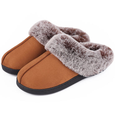 Women's VeraCosy Warm Faux Fur Collar Memory Foam Suede Slippers
