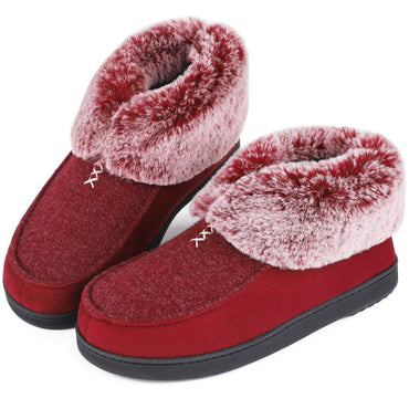 Ladies' EverFoams Simple Micro Suede Faux Fur Memory Foam Booties Slippers