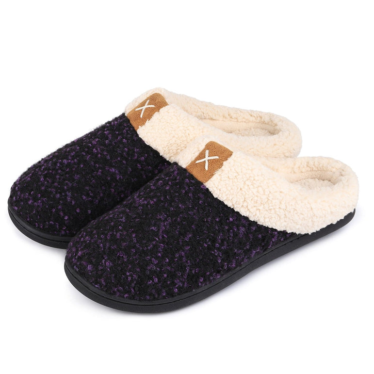 Ladies' VeraCosy Wool-Like Plush Fleece Lined Memory Foam Slippers