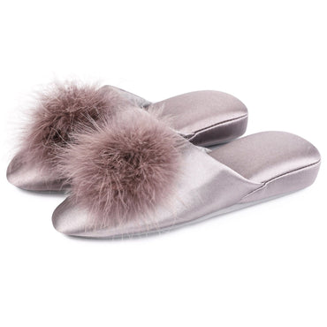 Ladies' EverFoams Satin Pom Pom Mule Slides Slippers
