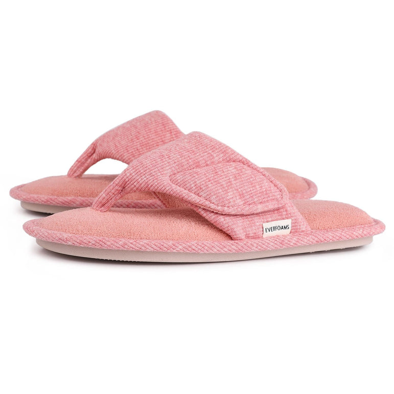 Ladies' EverFoams Comfy Adjustable Velcro Open Toe Thong Spa Slippers