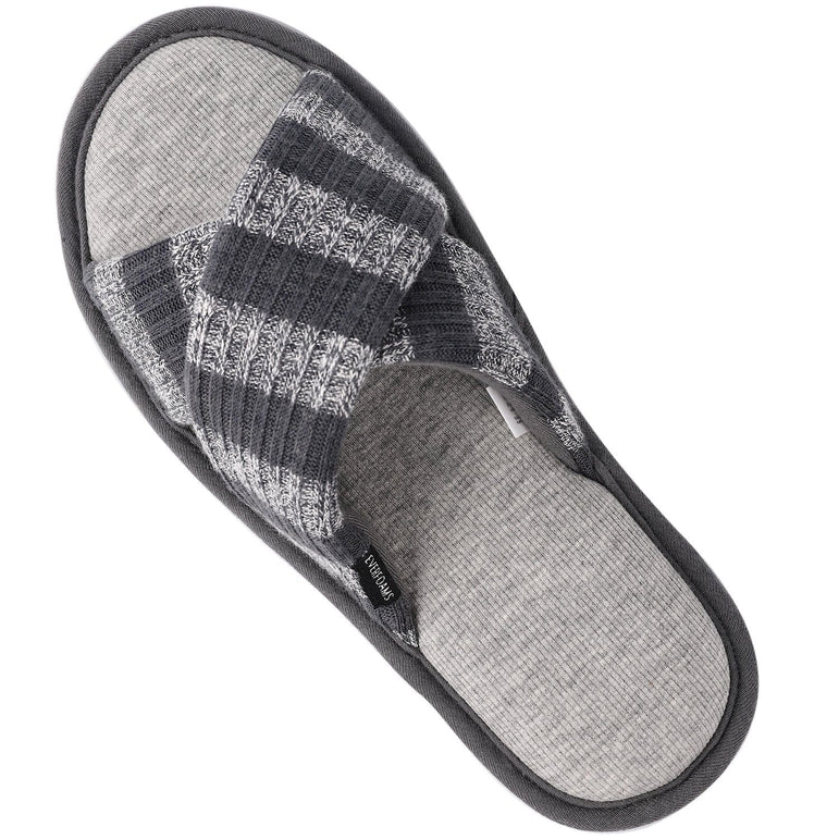 Ladies' EverFoams Cross Band Open Toe Memory Foam Spa Slippers
