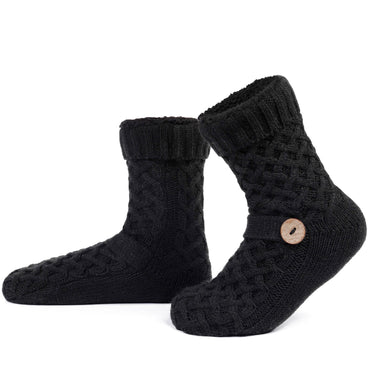 Women's and Men's Fuzzy Lined Knit Slipper Sock with Anti-Skid Dot Outsole