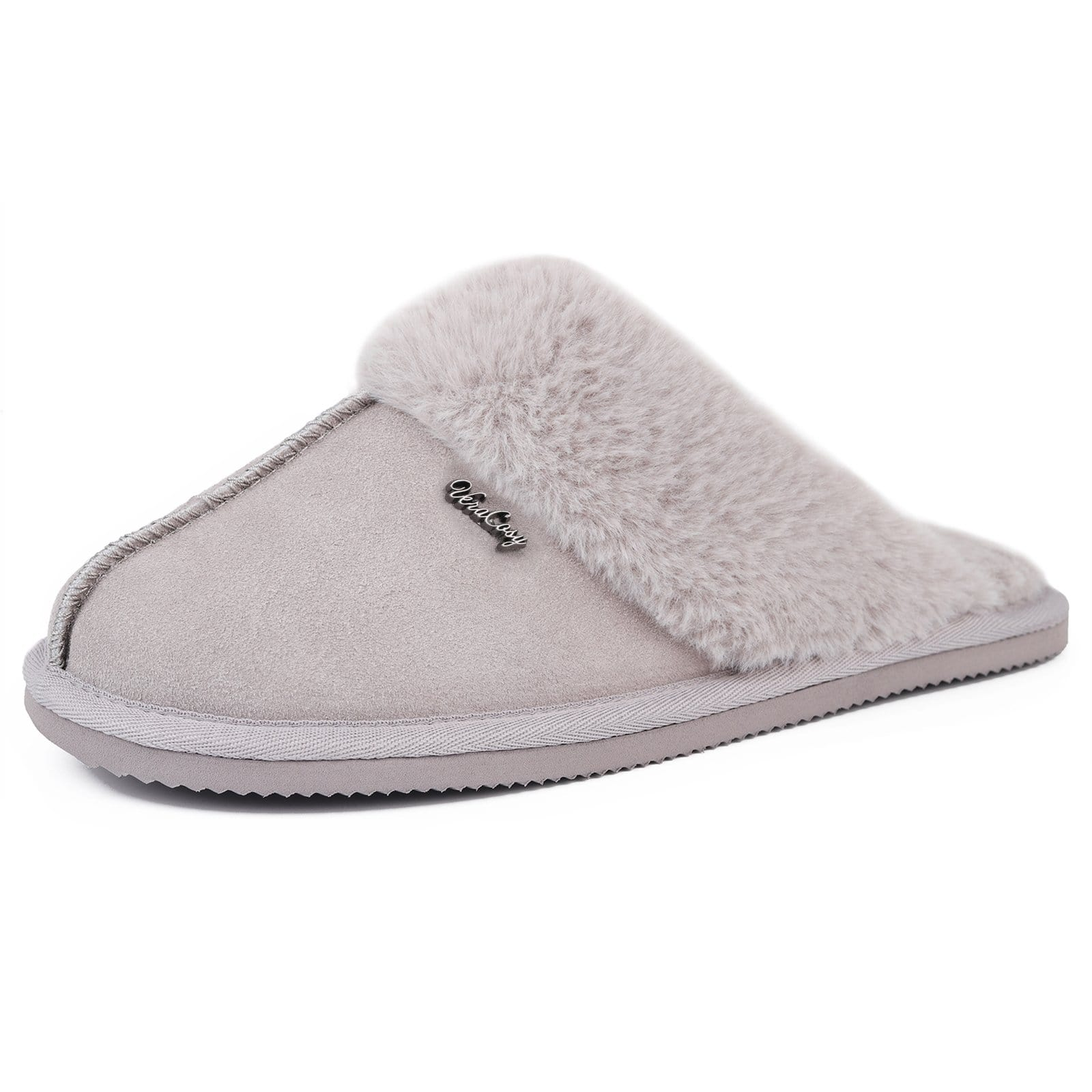 VeraCosy Ladies' Donna Fluffy Genuine Leather Flat Open Back Slippers with Memory Foam