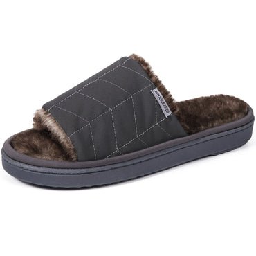 Snug Leaves Ladies' Fluffy Quilted Open Toe Slippers