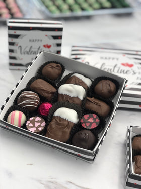 Large Happy Valentine's Day Striped Assorted Chocolate Box