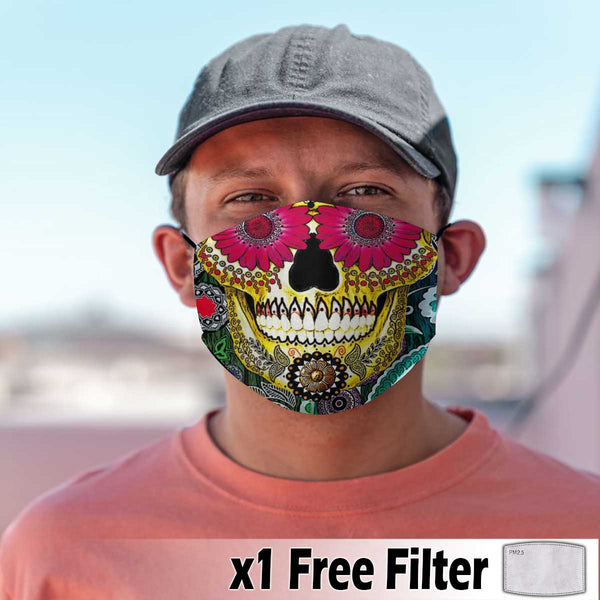 Activated Carbon Face Mask - Skull 09