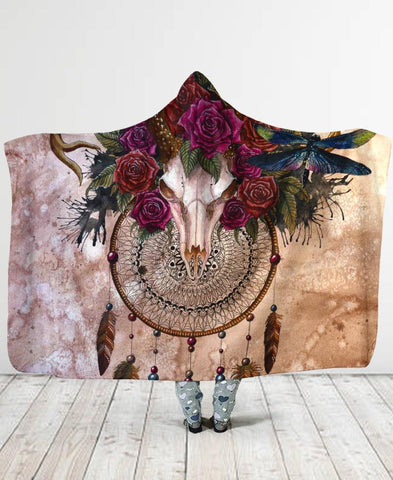 Dreamcatcher Rose Hooded Blanket