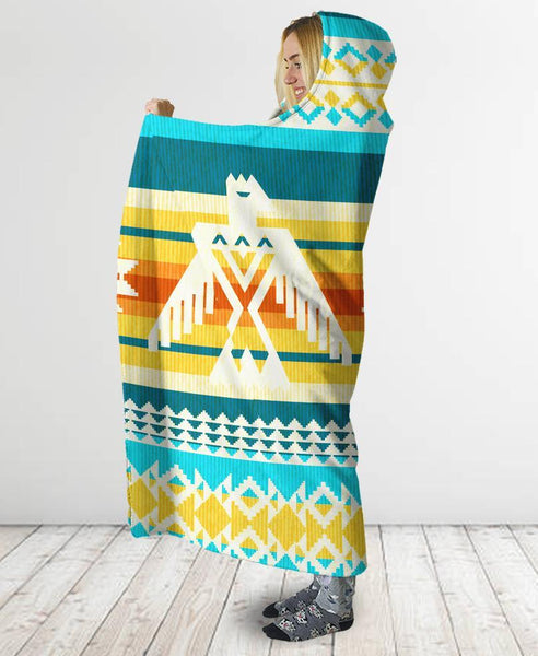 Border Pattern Hooded Blanket