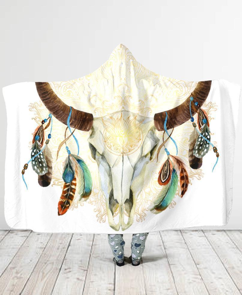 Tribal Bull Hooded Blanket