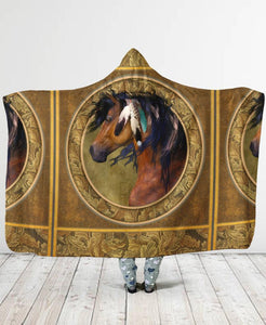 Horse Feather Hooded Blanket