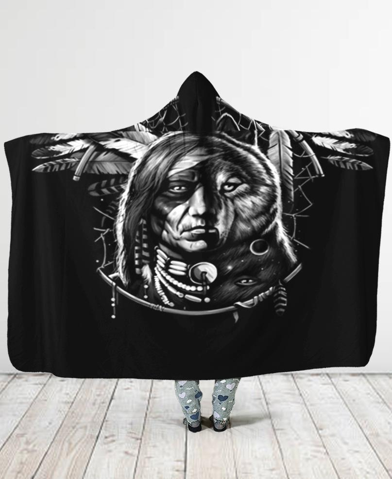 Black Chief Hooded Blanket