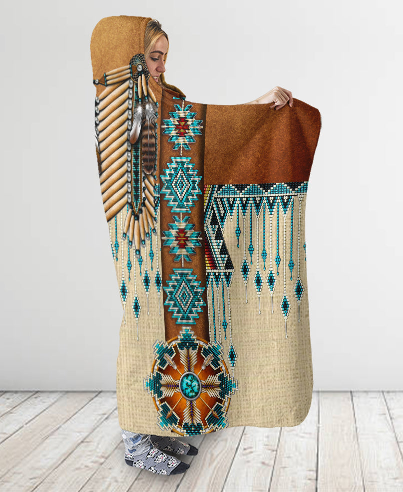Pattern Native Hooded Blanket