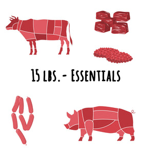 "Beef & Pork ""Essentials"" - 15 lbs. ($4.70/serving)"