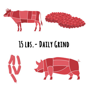 "Beef & Pork ""Daily Grind"" - 15 lbs. ($3.85/serving)"