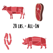 "Load image into Gallery viewer, Beef & Pork ""All-In"" - 20 lbs. ($6.40/serving)"