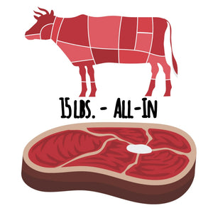 "Beef-only ""All-In"" - 15 lbs. ($6.50/serving)"
