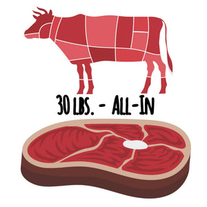 "Beef-only ""All-In"" - 30 lbs. ($6.20/serving)"