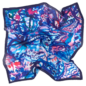 Tropic Blues Cotton Scarf