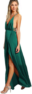 Women Sexy Deep V Neck Backless Maxi