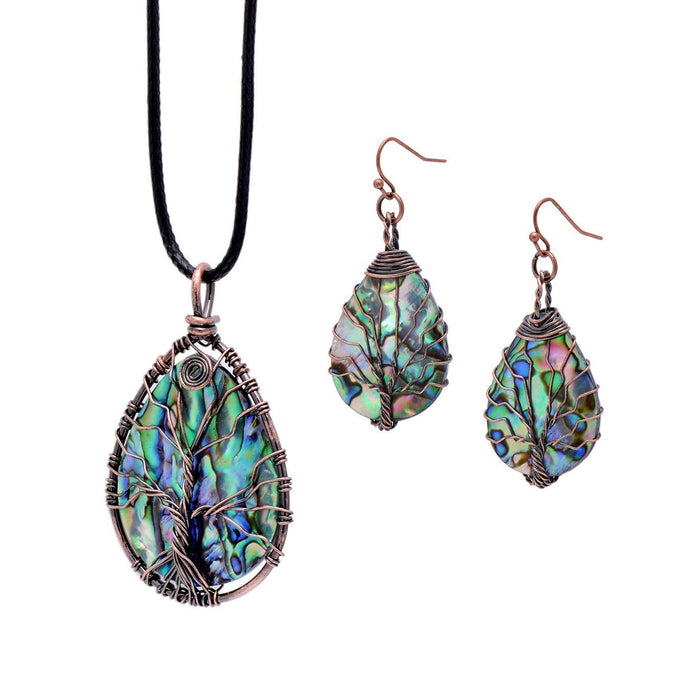 Sea Abalone Shell Earrings/Pendant Necklace