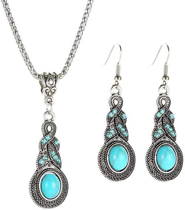 Turquoise Alloy Necklace and Earrings Set