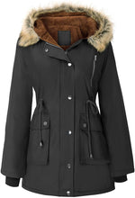 Load image into Gallery viewer, Womens Hooded Fleece Line Coats